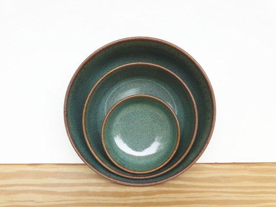 Stoneware Ceramic Nesting Pottery Bowl Set in Sea Mist Glaze - Set of Three