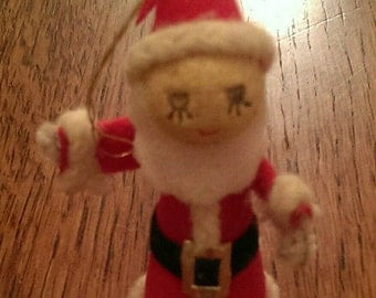 VIntage Spun Cotton Head Santa Ornament