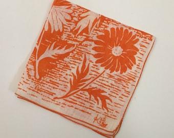 vintage orange and white floral Kati handkerchief - 1960s