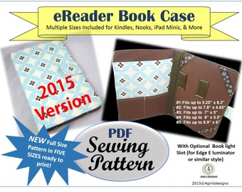 New 2015 eReader Padded Book Case INSTANT DOWNLOAD PDF Sewing Pattern with 5 Sets of Pattern Sizes Ready to Print