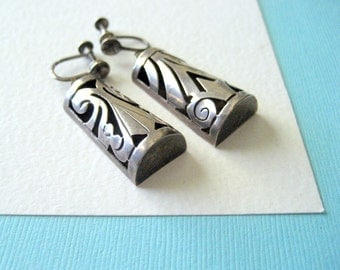 Mid Century Sterling Silver Die Cut Taxco Earrings