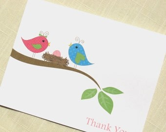 Baby Girl Thank You Cards - Set of 25  - Bird Nest - Baby Shower Thank Yous