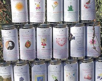 Herbal Tea Set of Two Tins - Your Choice, Tea in Tin, Gift Tea, Loose Tea, Caffeine Free, Sugar Free, Herbal Tea, Tea Gift