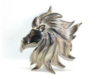 Magnificent Lion Head Leo King Jungle JJ pin Jonette brooch