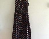 Vintage floral maxi dress / black floor length dress / floral prints dress