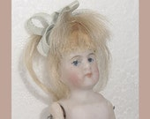 All Bisque Antique Doll - Jointed Arms - Legs - Blonde Wig -German -Dollhouse Size