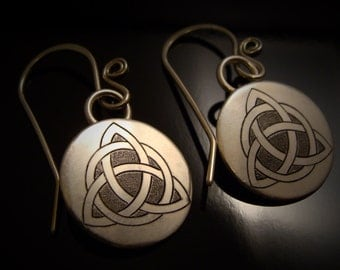 Hand Engraved Sterling Silver Celtic Tiqueta Knot Earrings
