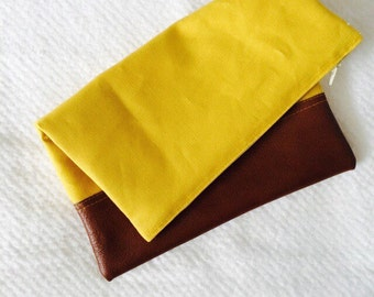 Mustard Yellow Fold Over Zipper Clutch with Leather
