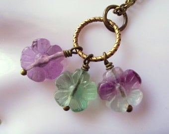 Flower necklace, natural fluorite cluster bouquet necklace, rainbow fluorite, vintage style, romantic, antiqued brass, long chain necklace