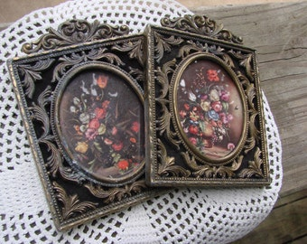 Pair of Vintage Made in Italy Metal Ornate Frames with Flower Pictures with Glass