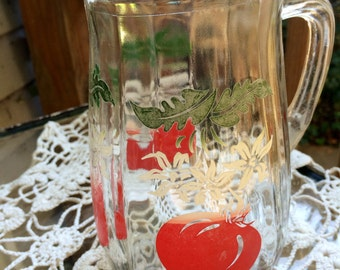 Vintage Glass Juice Pitcher with Tomatoes