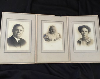 Lot of 3 Antique/Vintage Early 1900's Cabinet Card Photographs/Photos Family Pictures