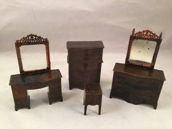 Set Of Vintage Renwal Brown Plastic Doll House Bedroom