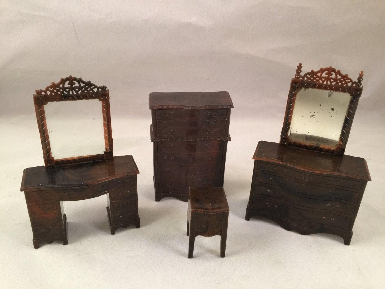 Set Of Vintage Renwal Brown Plastic Doll House Bedroom Furniture Haute Juice