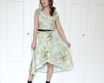Floral fishtail dress, linen dress, floral button up dress, watercolour print, curved hem dress, summer floral dress, 90s floral dress