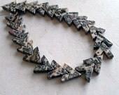 Leopard Jasper Beads- Chevron Shape Vintage Gemstone Beads Notched Triangle Shape for Jewelry Making