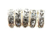 Silver Rhinestone Rondelle Spacer, 6 mm, Crystal 12 Pc. C442
