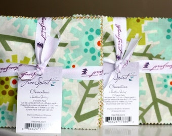 SALE 2 Packs 5 inch Squares Charm Pack CLEMENTINE fabric Heather Bailey