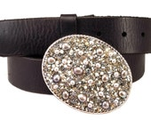 Beaded Belt Buckle - Silver Gray Pearls Country Western Chic