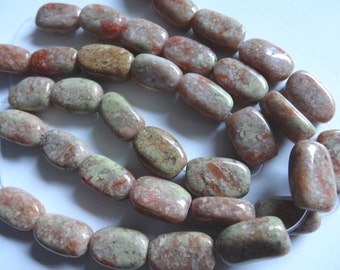 "7 3/4"" Strand Natural Rose or Autumn Jasper Rectangle Stone Beads A365"