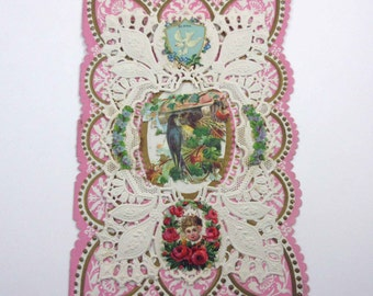 Vintage Large Pink Fancy Antique Valentine Greeting Card with Paper Lace Doily Birds Dove Flowers Roses Gold Gilded Embossing