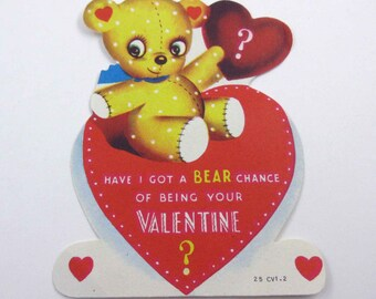 Vintage Children's Novelty Valentine Greeting Card with Cute Yellow Teddy Bear