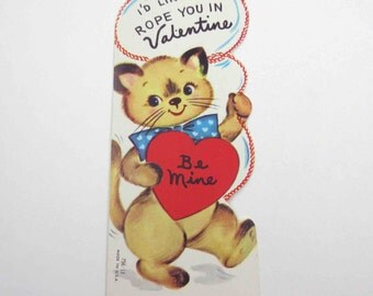 Vintage Children's Novelty Valentine Greeting Card with Adorable Cat with Lasso or Rope