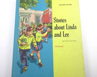 Stories About Linda and Lee Vintage 1960s Children's School Reader or Textbook with Halloween and Scottie Teacher's Edition