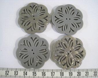 12pcs of OOAK Laser Cut Resin Button  -  Gray 38mm