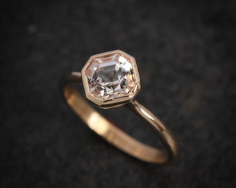 14k Yellow Gold Asscher Cut Herkimer Diamond Ring, Gold Solitaire and Diamond Alternative Ring Yellow Gold and Gemstone Ring