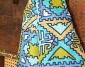 Vintage 1960's Scarf Aztec Geometric Turquoise Mid Century Tribal Design Fashion Accessories