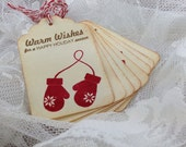 Handmade Vintage Style Gift Tag - Winter Mittens - Warm Wishes for a Happy Holiday Season