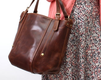 Leather Handbag Bucket Tote Bag, Vintage Brown