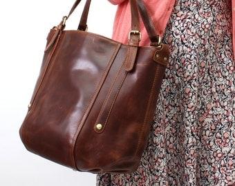 Leather Handbag Bucket Tote Bag, Vintage Brown