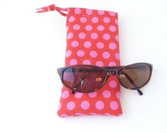sunglasses pouch. fabric eyeglass case. pink polka dot red padded glasses drawstring bag. cute teen tween gift
