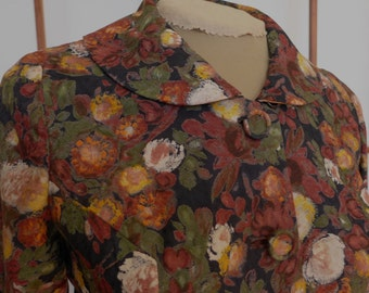 Vintage Roos Atkins Women's Floral Suit 50s/60s Small