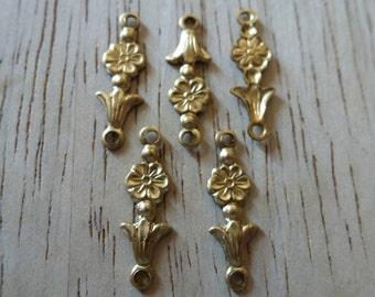 10 Small Brass Flower Drop Connectors Ccart