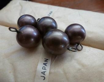 5 1940s Japanese 11mm Bronze Glass Drop Beads C29