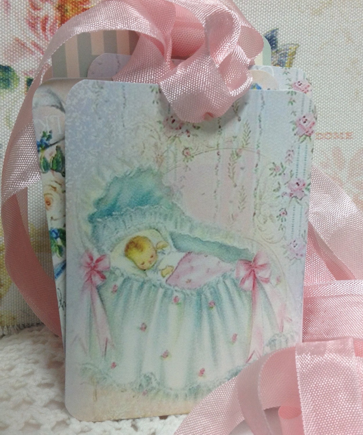 Etsy Australia Baby Gifts : Set of large vintage baby gift tags welcome new