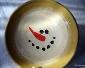 Primitive Christmas Snowman Bowl folk art winter holiday decor ooak hand painted snowmen