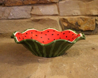 hand painted pottery, ruffled bowl, watermelon