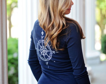Compass Rose. Spring jackets for women. zip up jacket. fitted jacket. nautical clothing. nautical shirt. women jackets and coats. ellembee.
