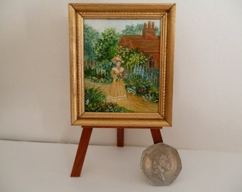 A walk in the garden, -A Victorian Style,  Original One 12th Scale Miniature Acrylic Painting