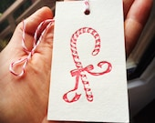 5 letterpress candy cane gift tags