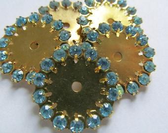 Vintage Swarovski Brass & Crystal Wheel Finding Aqua Stones Beads