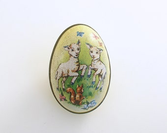 Vintage Easter Egg Candy Container Tin Litho