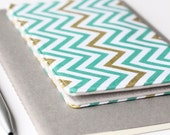 SAMPLE SALE - Chevron Check Book Cover, Teal and Gold Checkbook Holder, College Student Gift, Gift for Her
