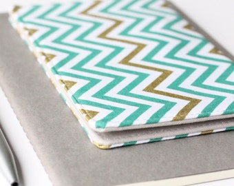 Chevron Check Book Cover, Teal and Gold Checkbook Holder, College Student Gift, Gift for Her