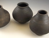 Small black smoked bottle, primitive pottery, native american inspired pottery,  black raku pottery, black pottery, 6 inches, rustic