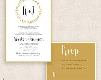 MODERN & GOLD - DIY Printable Wedding Set - Invitation and Reply Card